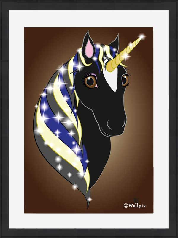 Black-framed original art print Regal Unicorn Black Beauty on Brown by Jeff West