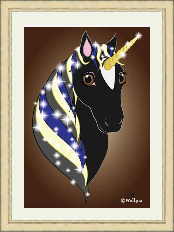 Gold-framed original art print Regal Unicorn Black Beauty on Brown by Jeff West