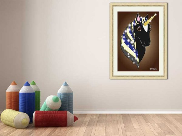 Gold-framed original art print Regal Unicorn Black Beauty on Brown by Jeff West in a child's room