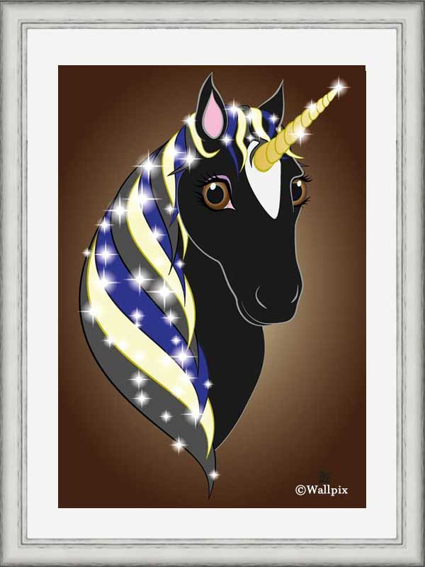 Silver-framed original art print Regal Unicorn Black Beauty on Brown by Jeff West