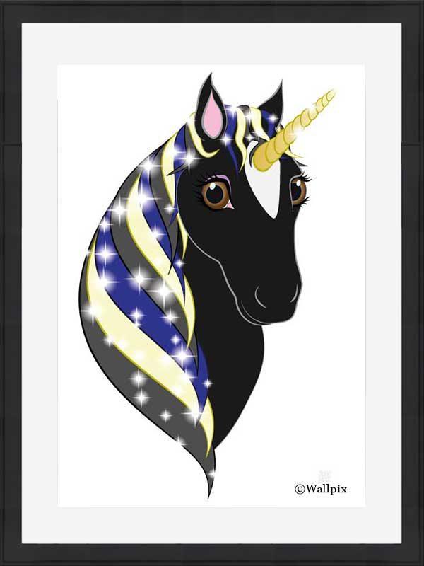 Black-framed original art print Regal Unicorn Black Beauty on White by Jeff West