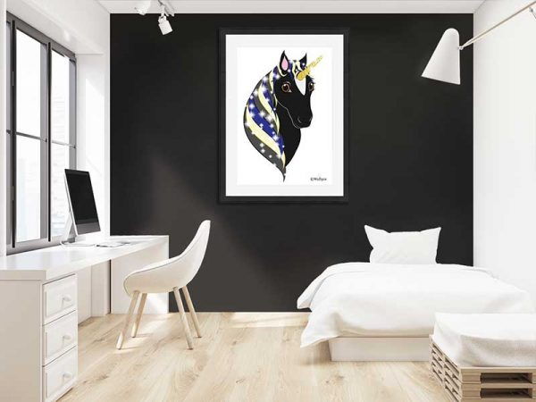Black-framed original art print Regal Unicorn Black Beauty on White by Jeff West in a child's room