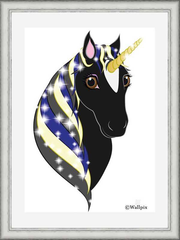 Silver-framed original art print Regal Unicorn Black Beauty on White by Jeff West