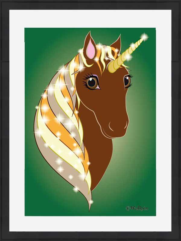 Black-framed original art print Regal Unicorn Chestnut on Green by Jeff West