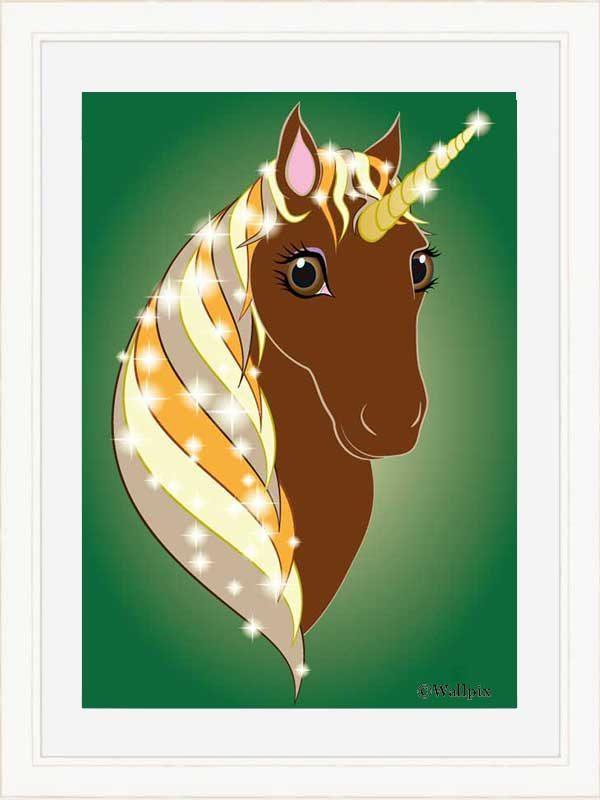 Cream-framed original art print Regal Unicorn Chestnut on Green by Jeff West