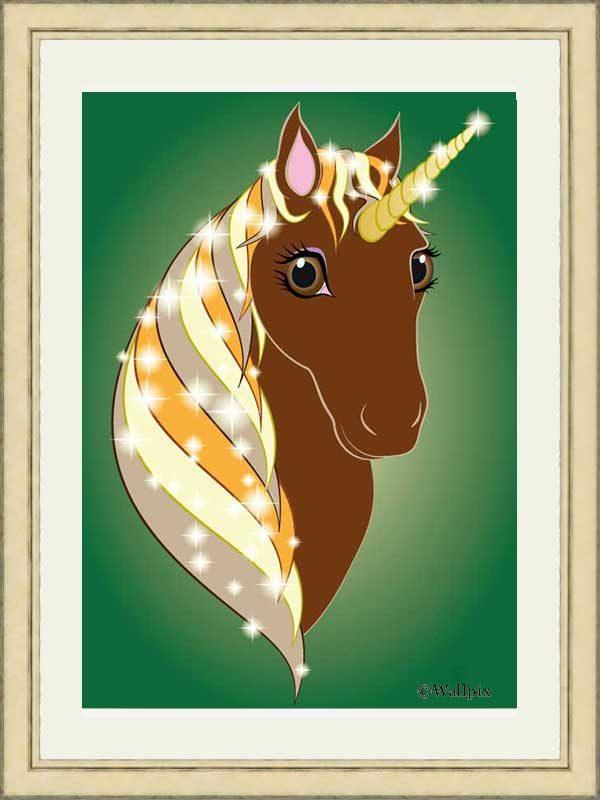 Gold-framed original art print Regal Unicorn Chestnut on Green by Jeff West