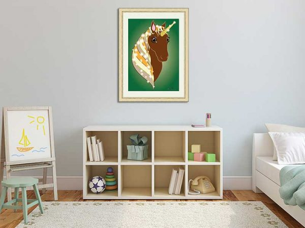 Gold-framed original art print Regal Unicorn Chestnut on Green by Jeff West in a child's room