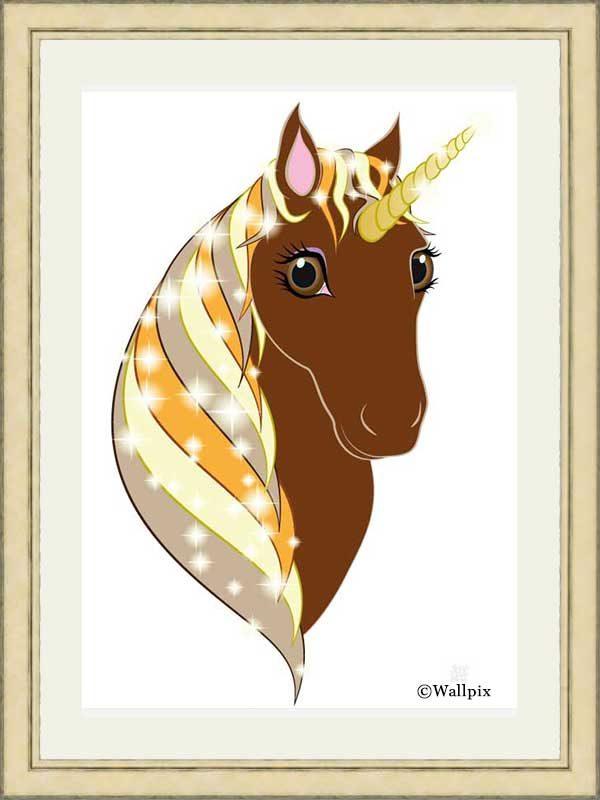 Gold-framed original art print Regal Unicorn Chestnut on White by Jeff West
