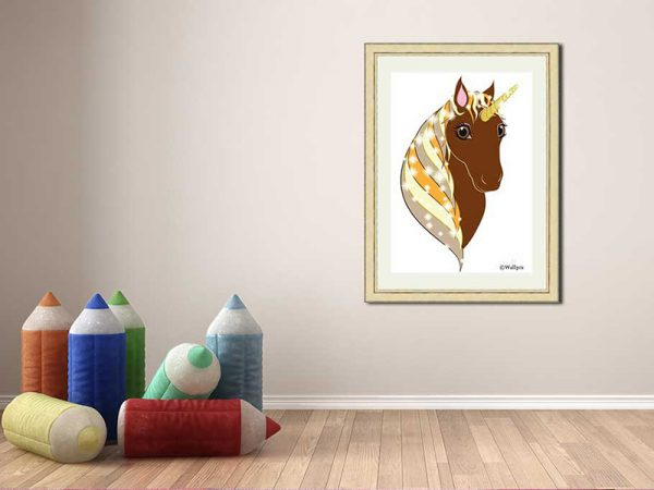 Gold-framed original art print Regal Unicorn Chestnut on White by Jeff West in a child's room