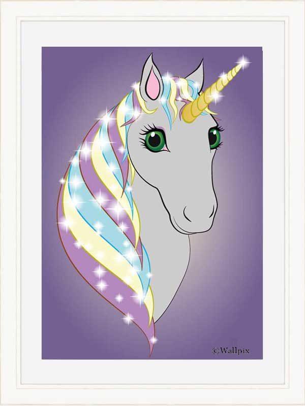 Cream-framed original art print Regal Unicorn Grey on Lilac by Jeff West