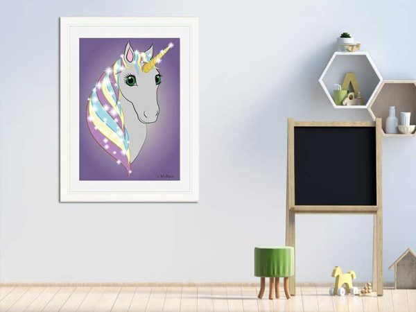 Cream-framed original art print Regal Unicorn Grey on Lilac by Jeff West in a child's room