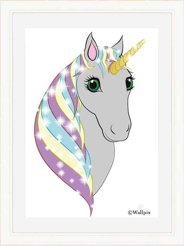 Cream-framed original art print Regal Unicorn Grey on White by Jeff West