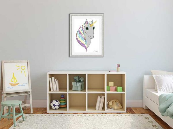 Silver-framed original art print Regal Unicorn Grey on White by Jeff West in a child's room