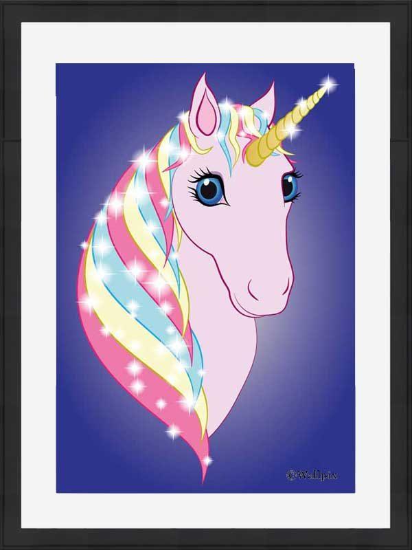 Black-framed original art print Regal Unicorn Pink on Blue by Jeff West