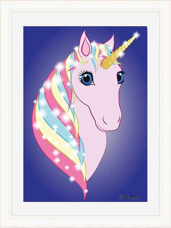 Cream-framed original art print Regal Unicorn Pink on Blue by Jeff West