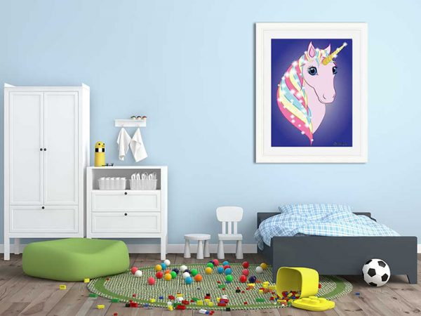 Cream-framed original art print Regal Unicorn Pink on Blue by Jeff West in a child's room