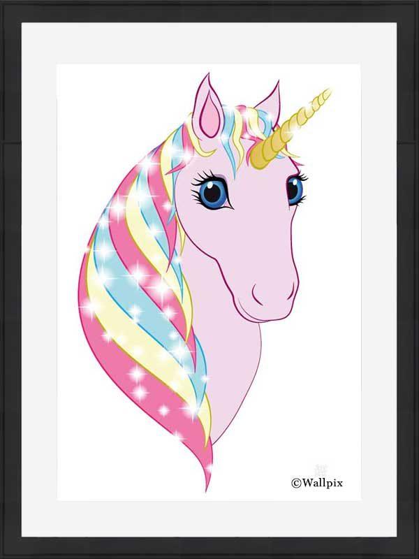 Black-framed original art print Regal Unicorn Pink on White by Jeff West