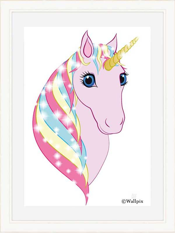 Cream-framed original art print Regal Unicorn Pink on White by Jeff West
