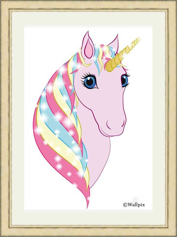 Gold-framed original art print Regal Unicorn Pink on White by Jeff West