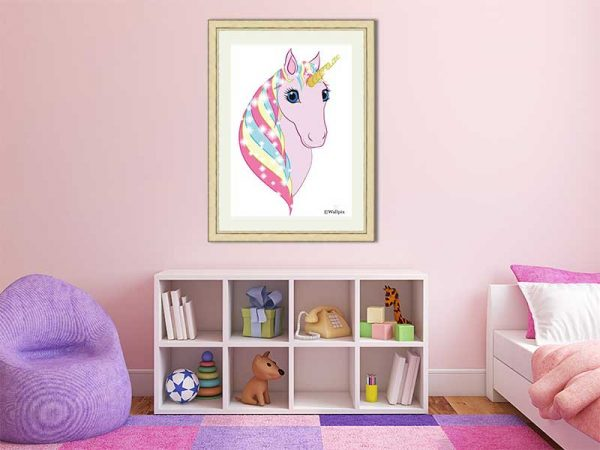 Gold-framed original art print Regal Unicorn Snow White on Pink by Jeff West in a child's room