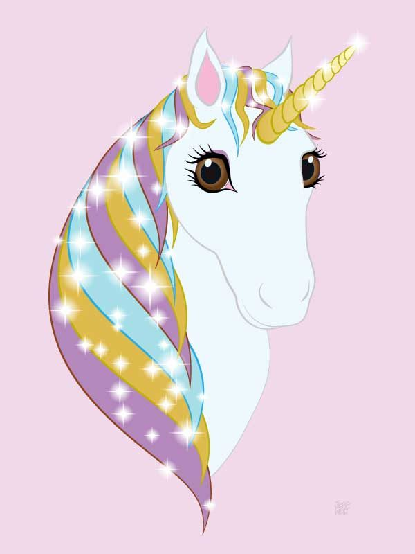 Unframed original art print Regal Unicorn Pure White on Candy by Jeff West