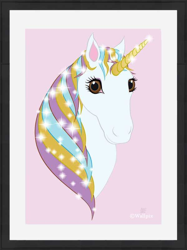 Black-framed original art print Regal Unicorn Pure White on Candy by Jeff West