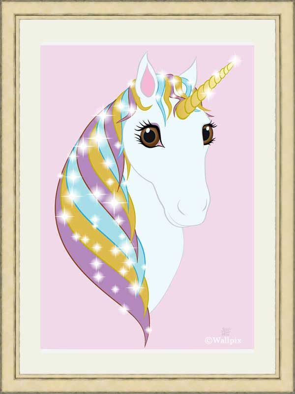 Gold-framed original art print Regal Unicorn Pure White on Candy by Jeff West
