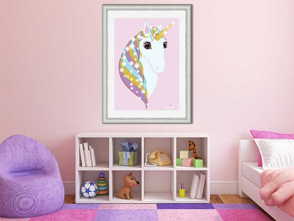Silver-framed original art print Regal Unicorn Pure White on Candy by Jeff West in a child's room