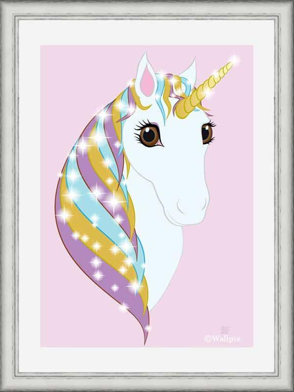 Silver-framed original art print Regal Unicorn Pure White on Candy by Jeff West