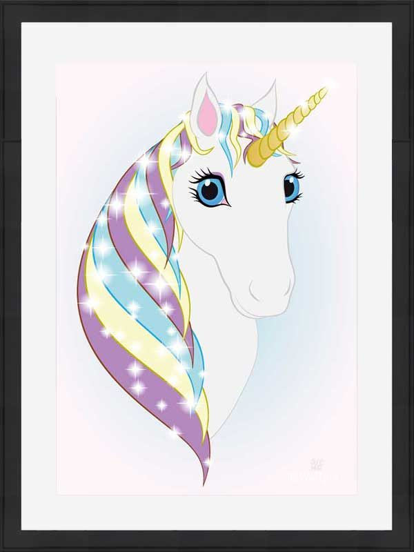 Black-framed original art print Regal Unicorn Snow White on Ice by Jeff West