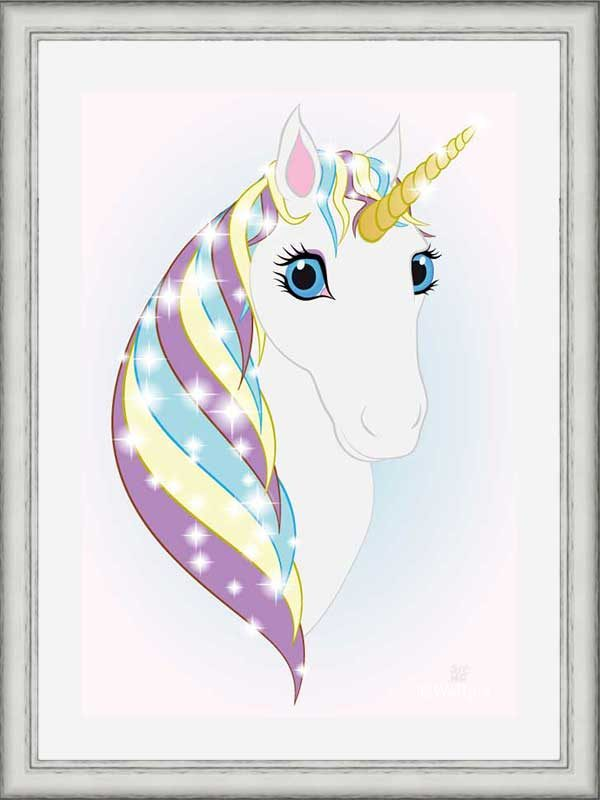 Silver-framed original art print Regal Unicorn Snow White on Ice by Jeff West