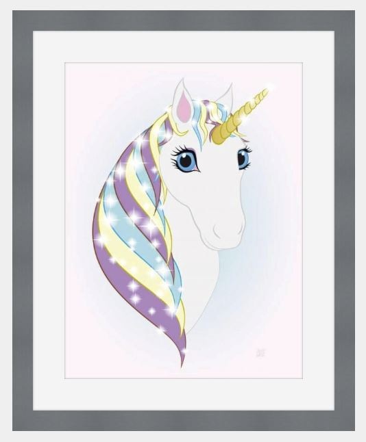 Slate-framed original art print Regal Unicorn Snow White on Ice by Jeff West