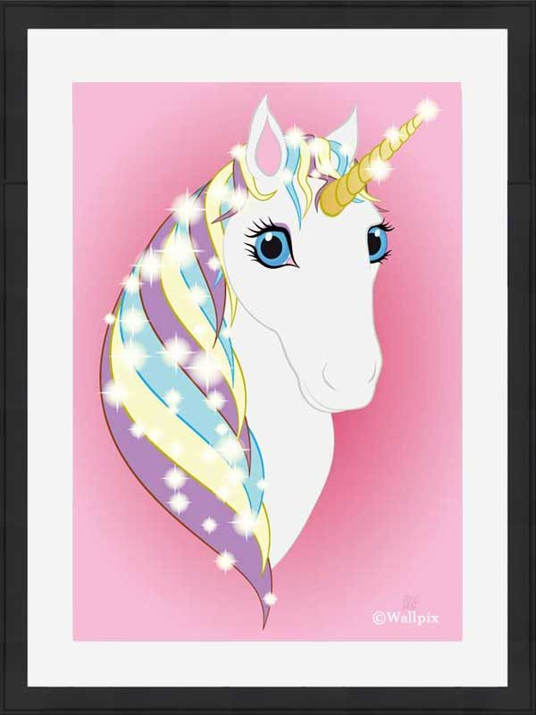 Black-framed original art print Regal Unicorn Snow White on Pink by Jeff West
