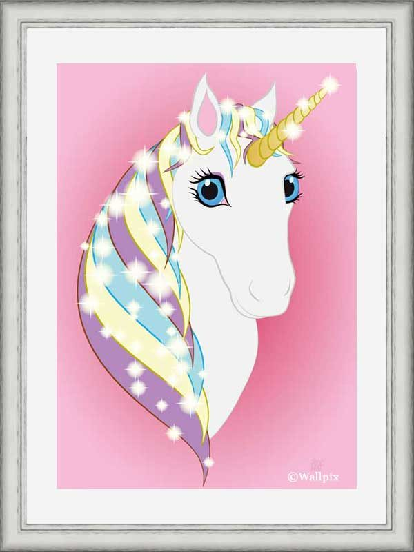 Silver-framed original art print Regal Unicorn Snow White on Pink by Jeff West