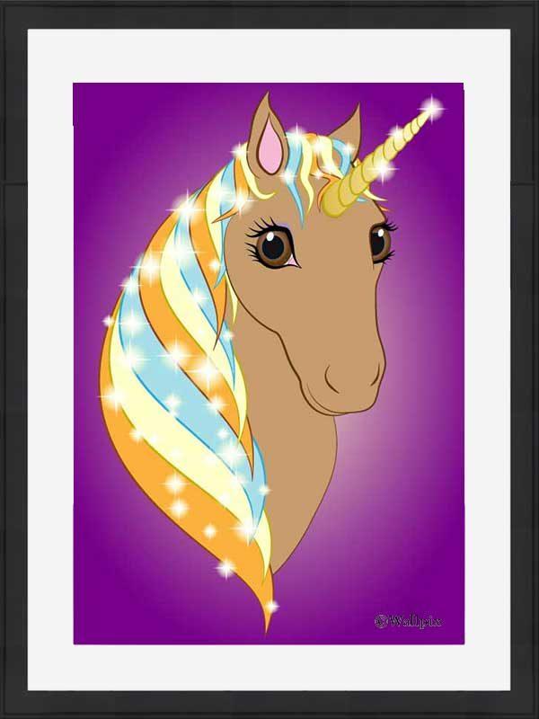 Black-framed original art print Regal Unicorn Toffee on Purple by Jeff West