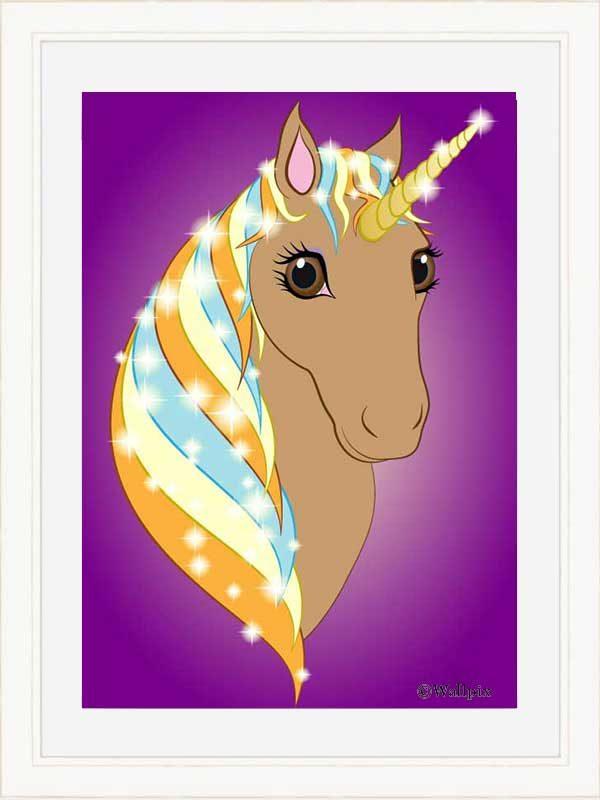 Cream-framed original art print Regal Unicorn Toffee on Purple by Jeff West