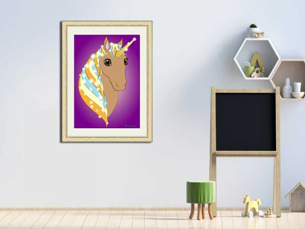 Gold-framed original art print Regal Unicorn Toffee on Purple by Jeff West in a child's room