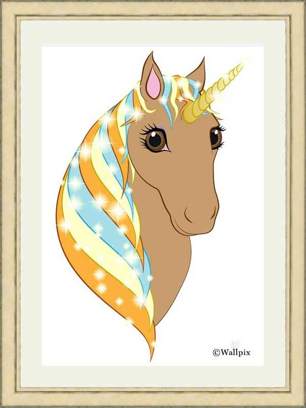 Gold-framed original art print Regal Unicorn Toffee on White by Jeff West