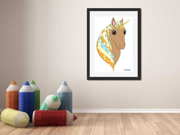 Black-framed original art print Regal Unicorn Toffee on White by Jeff West in a child's room