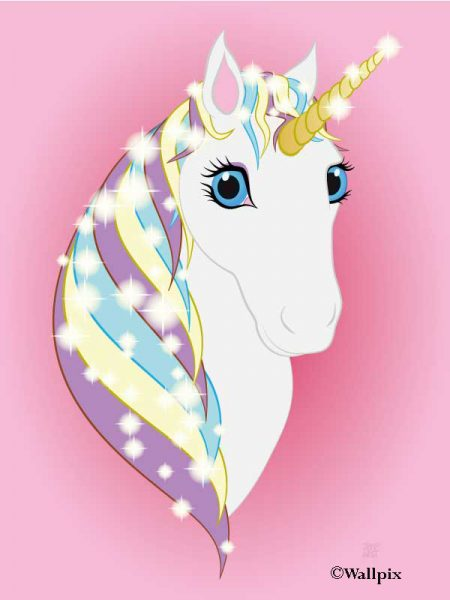 Unframed original art print Regal Unicorn Snow White on Pink by Jeff West