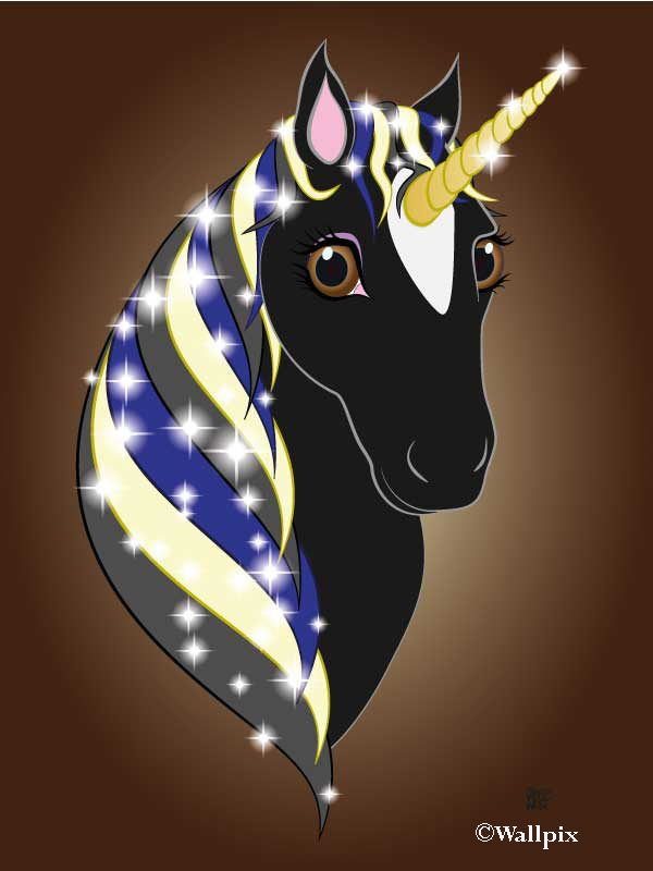 Unframed original art print Regal Unicorn Black Beauty on Brown by Jeff West