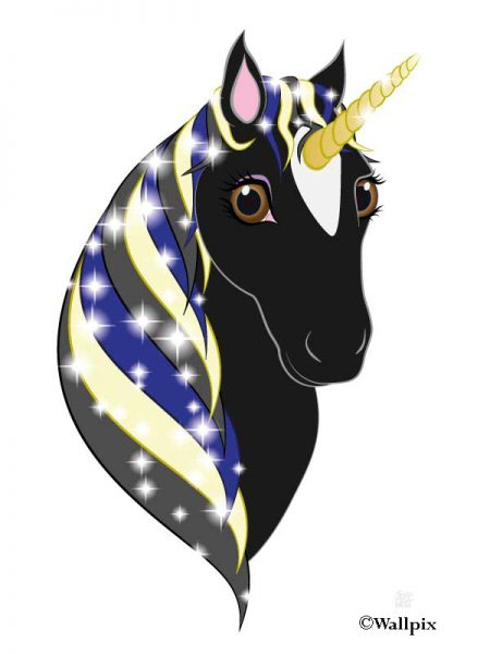 Unframed original art print Regal Unicorn Black Beauty on White by Jeff West