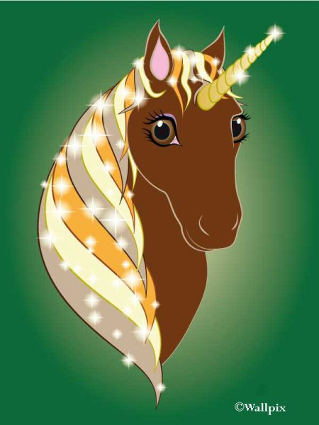 Unframed original art print Regal Unicorn Chestnut on Green by Jeff West