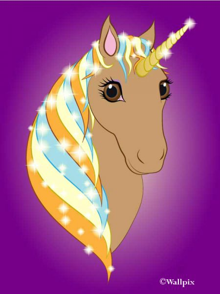 Unframed original art print Regal Unicorn Toffee on Purple by Jeff West