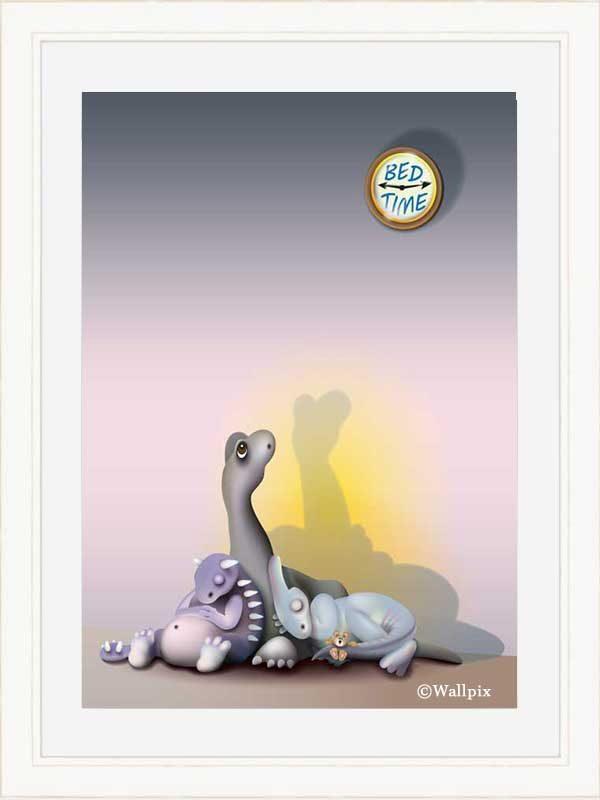 White-framed original art print of baby dinosaurs Bedtime for Brachio by Jeff West