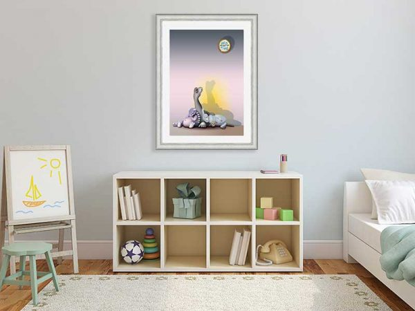 Silver-framed original art print of baby dinosaurs Bedtime for Brachio by Jeff West in a child's room