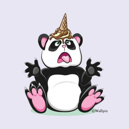 Unframed original art print Chocolate Ice Cream Unicone Panda on a lavender by Jeff West