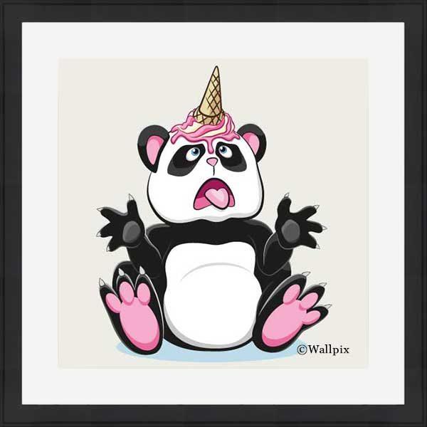 Black-framed original art print Strawberry Ice Cream Unicone Panda on a creamy background by Jeff West