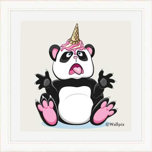 Cream-framed original art print Strawberry Ice Cream Unicone Panda on a creamy background by Jeff West