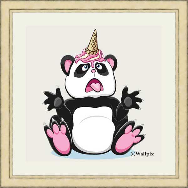 Gold-framed original art print Strawberry Ice Cream Unicone Panda on a creamy background by Jeff West